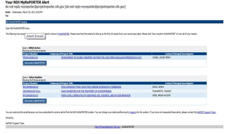 Image showing MyRePORTER email alert