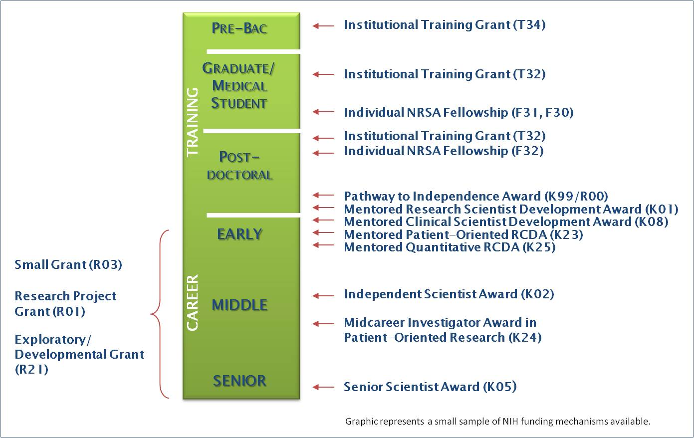 graphic shows a selection of NIH grant program and the approximate career stage in which people receive these awards