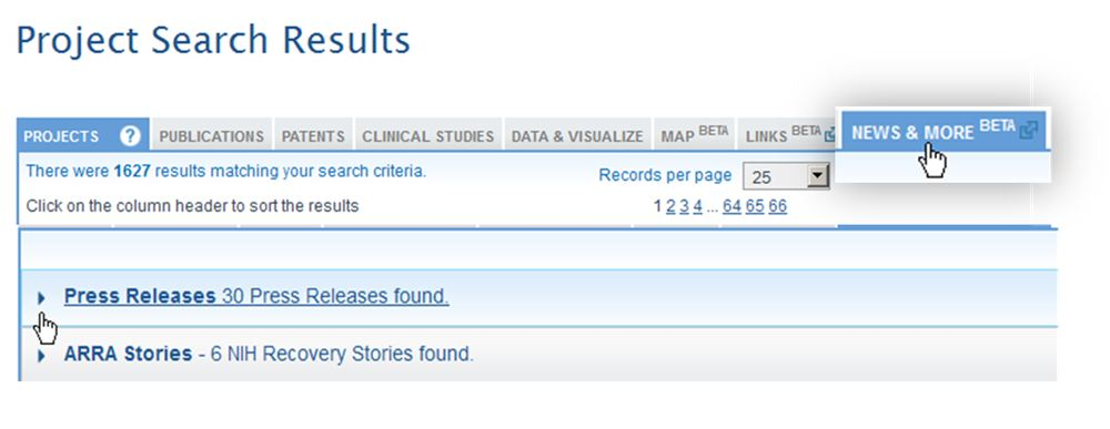 Screenshot of project search results from RePORT