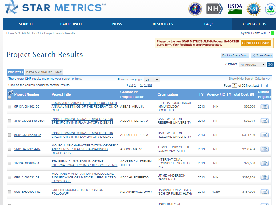 Project search results list example from Federal RePORTER