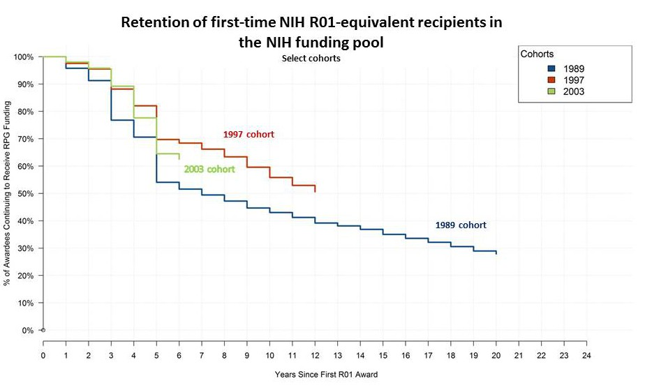 Retention of first-time NIH R01-equivalent recipients in the NIH funding pool Select cohorts