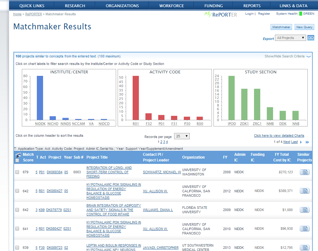 Screenshot of Matchmaker query results