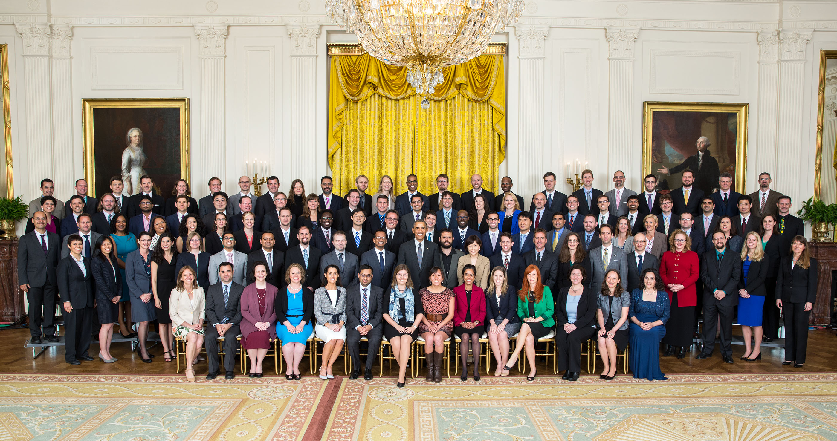 President Barack Obama joins recipients of the Presidential Early Career Award for Scientists and Engineers (PECASE) for a group photo in the East Room of the White House, May 5, 2016. (Official White House Photo by Lawrence Jackson)