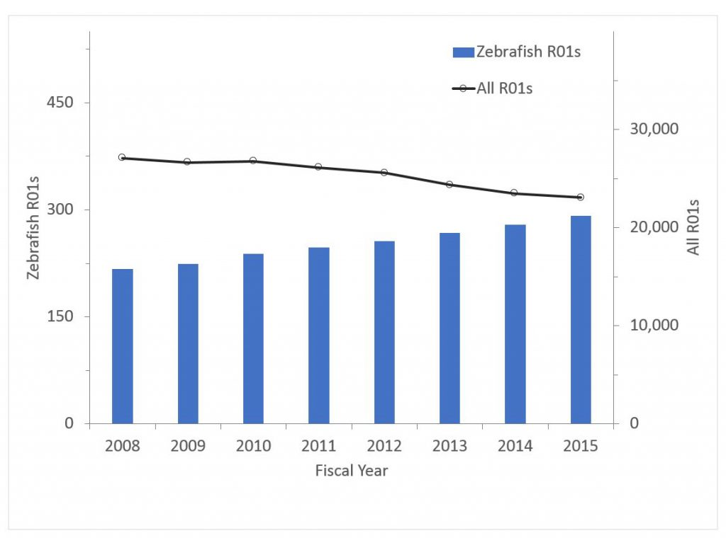 Number of zebrafish R01 awards data tables are found at the bottom of the RePORT Special reports page: https://report.nih.gov/special_reports_and_current_issues/index.aspx