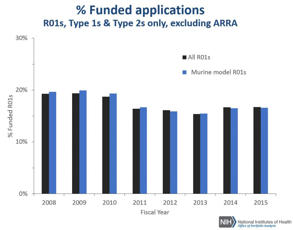 Percentages of funded R01 applications for all R01s compared to R01 projects using murine models