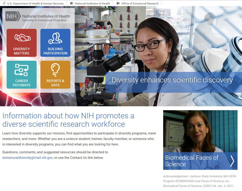 screenshot of the new NIH extramural programs in diversity website homepage