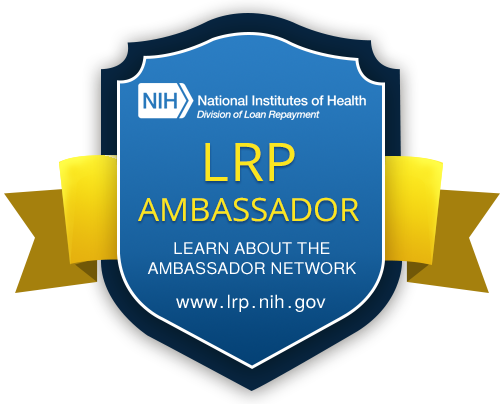 NIH logo and seal with thre text :LRP ambassador - learn about the ambassador network: www.lrp.nih.gov