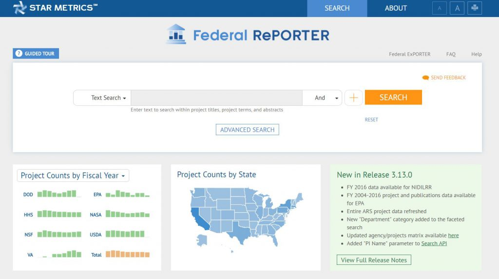 Screenshot of Federal Reporter homepage