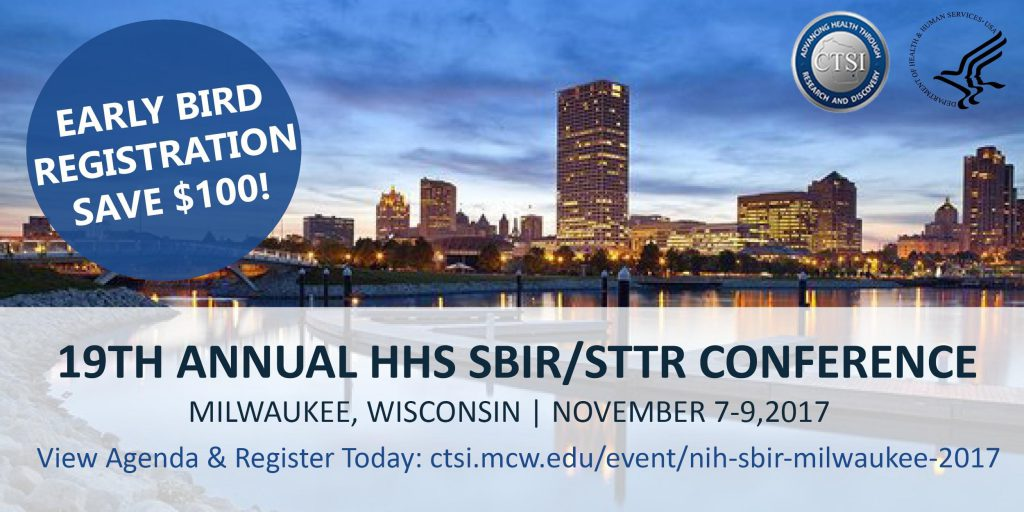 Promotional image for HHS SBIR-STTR conference showing that early bird registration saves $100