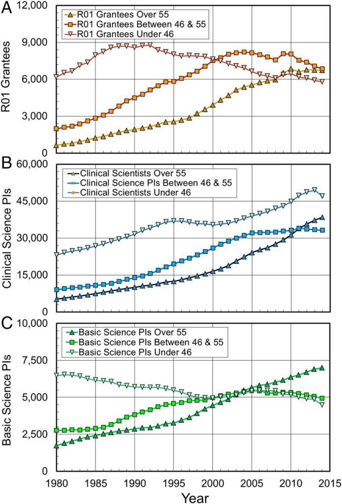 Figure 1 shows that the number of medical school faculty and NIH R01 grantees over age 55 has increased steadily since 1980. Focusing on faculty in basic science departments, the representation of younger and middle aged PIs has remained stagnant, or declined, since 2000.