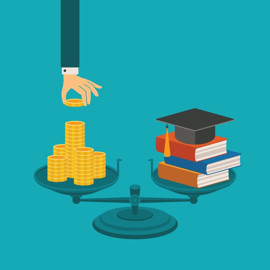 Graphic showing a scale with a hand depositing money one one side, and a stack of books and graduation cap on the other