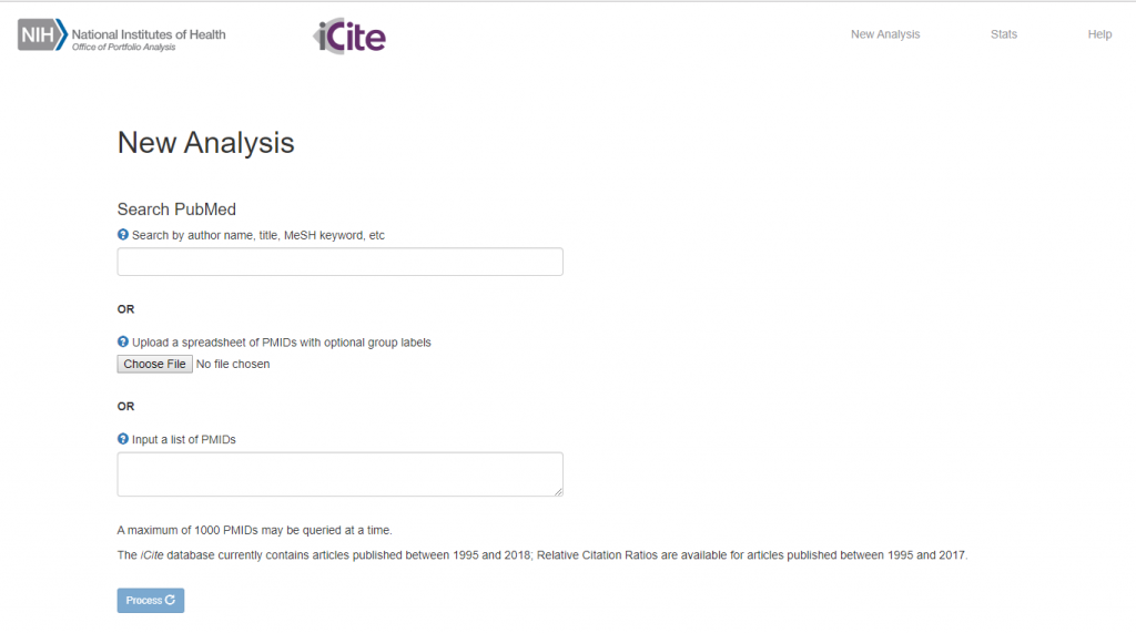 Figure 1 shows a screen shot of the iCite website