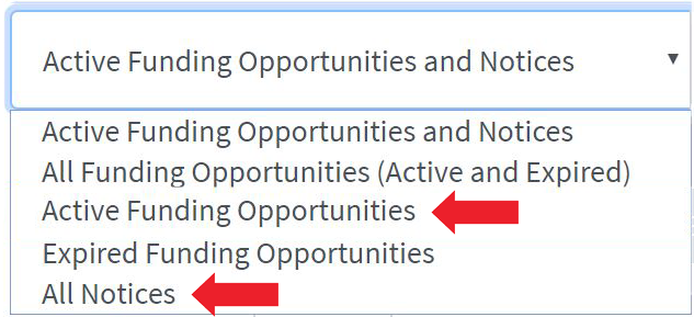 screenshot of search filters showing options to search all funding opportunities, all notices, etc.