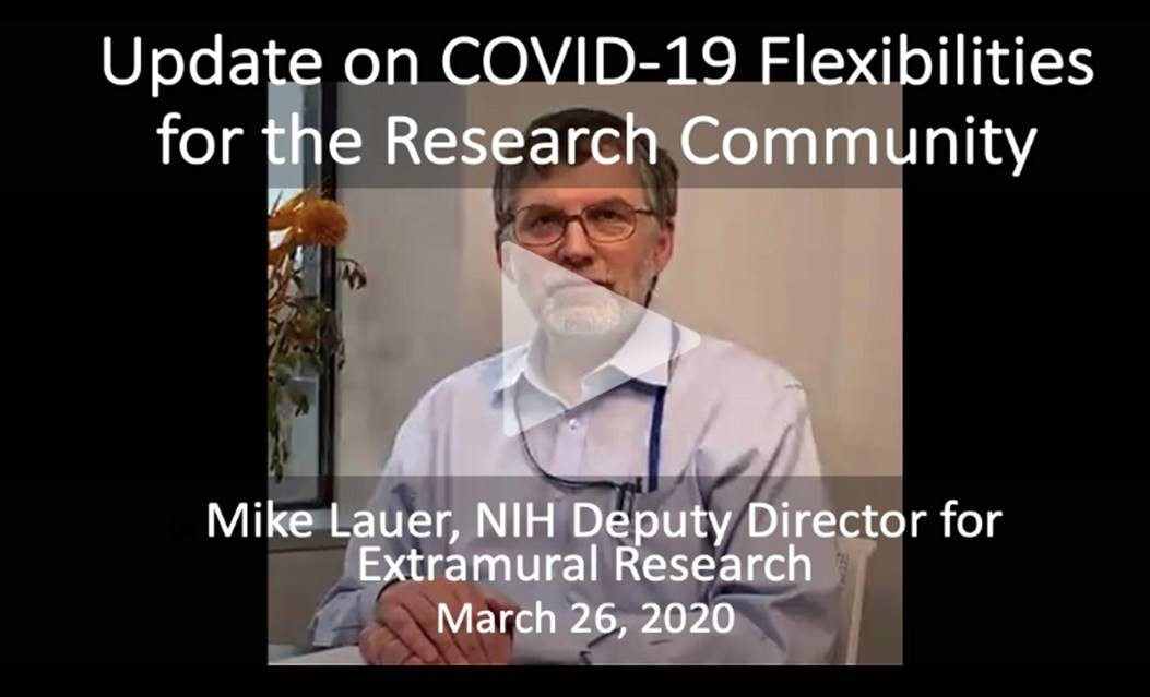 Thumbnail of video on Update on COVID-19 Flexibilities for the Research Community