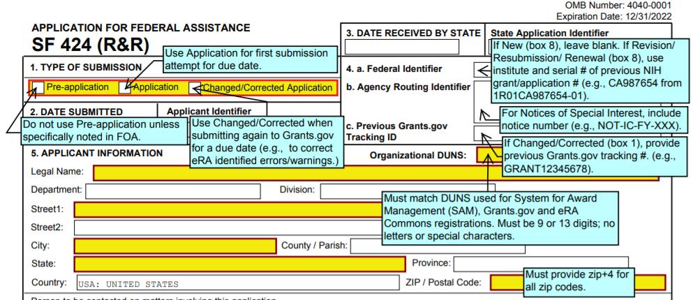 Screenshot of an annotated form