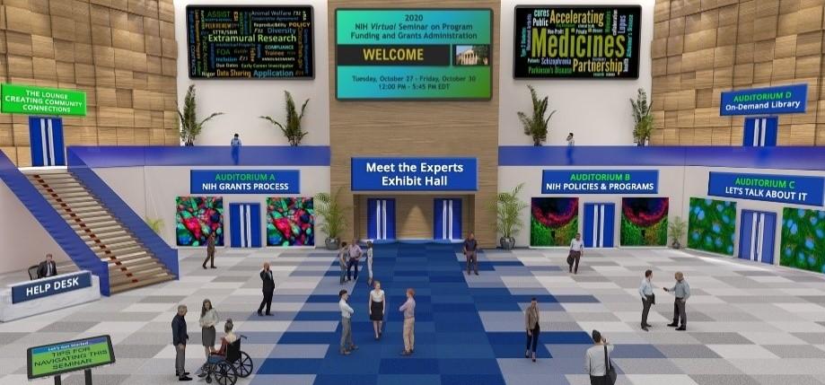 Screenshot of the lobby of the NIH virtual seminar 2020