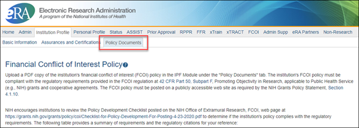 Screenshot of the top of the IPF, highlighting the new Policy Documents tab