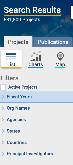 Figure 2 is a screenshot of the filter options that display after every search, including filters for active projects, fiscal years, funded organization names, agencies and NIH Institutes and Centers, states, countries, and principal investigators.