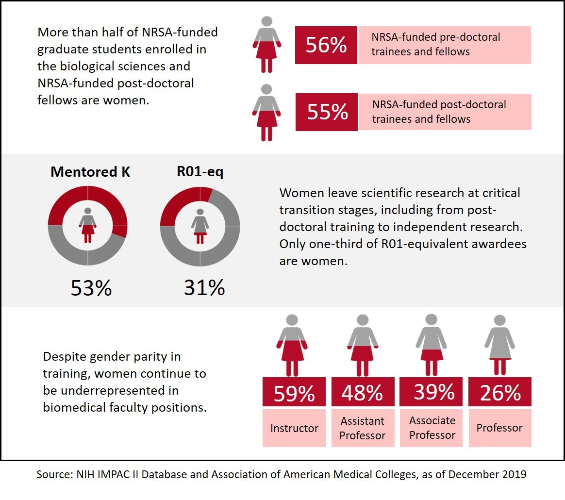 A graphic with 3 panels depicting the percentage of women who are NRSA-funded, K awards vs R01 equivalents, and how women are underrepresented in faculty positions.