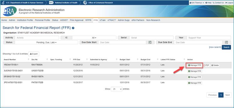 screenshot of manage FFR button