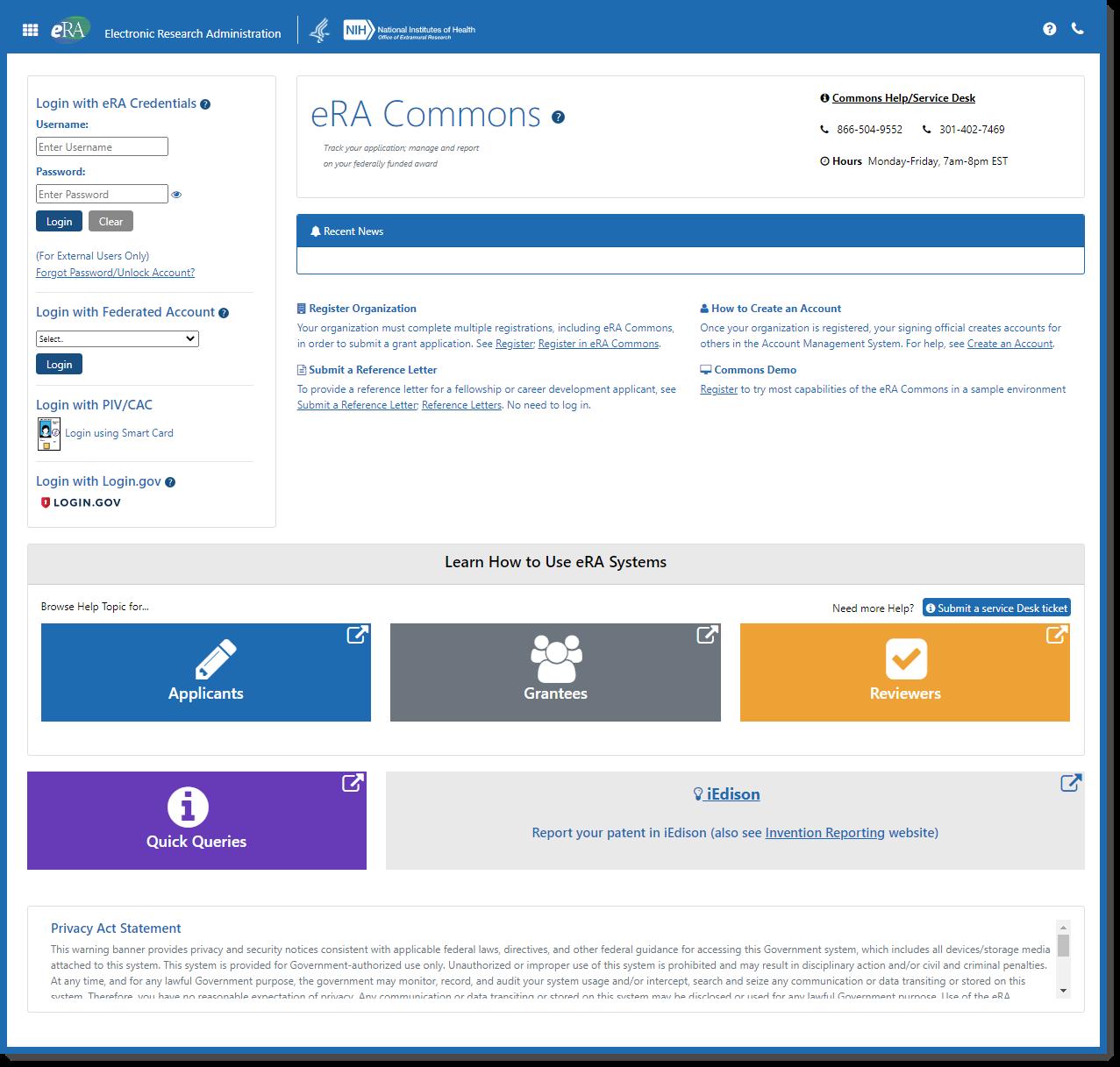 Screenshot of the new eRA Commons log-in screen.