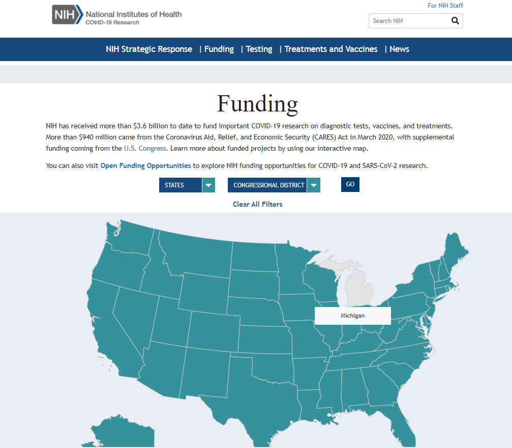 """Screenshot of screen after clicking on the """"Funding"""" tab – displays US map with Michigan highlighted, above are fields where users can select the state & Congressional district and click """"Go"""" to search."""
