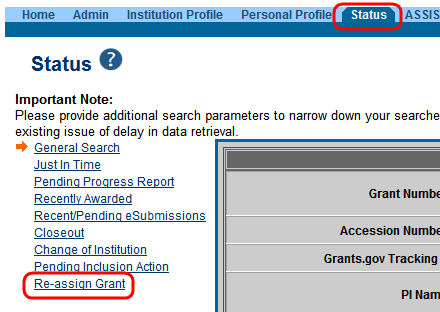 Figure 2 shows the eRA Commons Re-assign Grant feature that allows Signing Officials to update the school and department information for awarded grants.