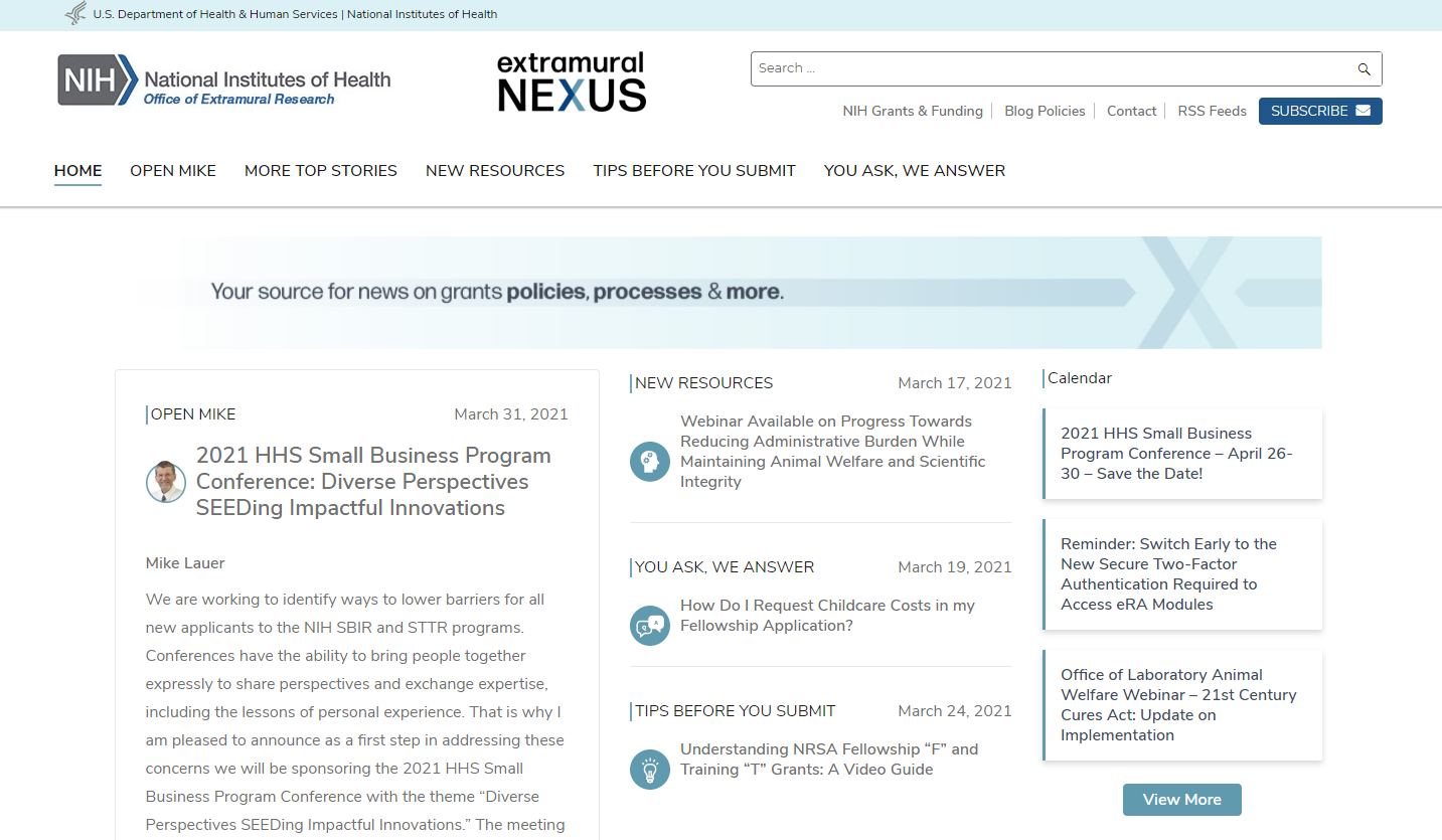 screenshot of Extramural Nexus homepage showing the different sections of the site