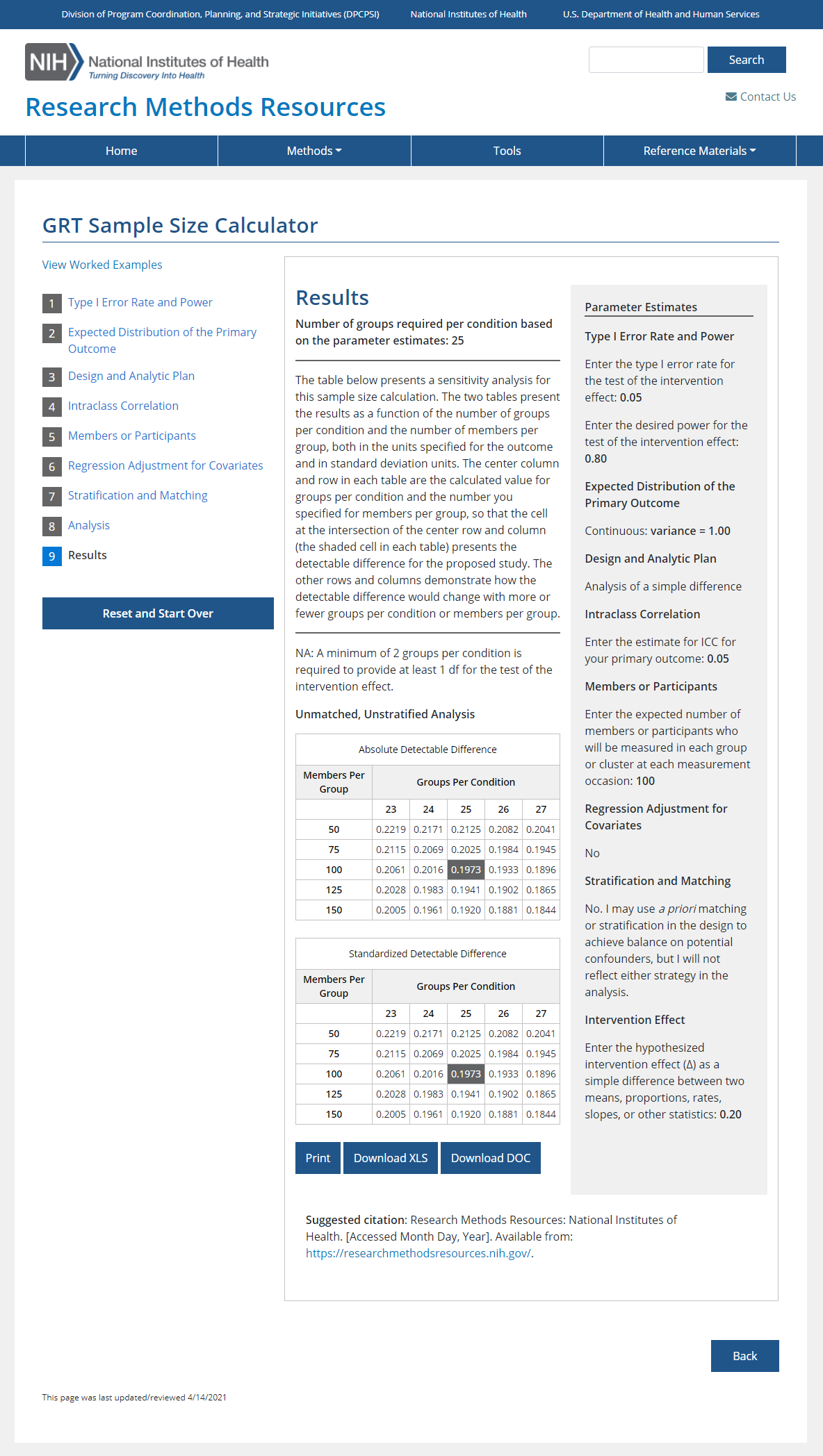 Figure 2 is a screenshot of the results page for the Group or Cluster Randomized Trial sample size calculator.