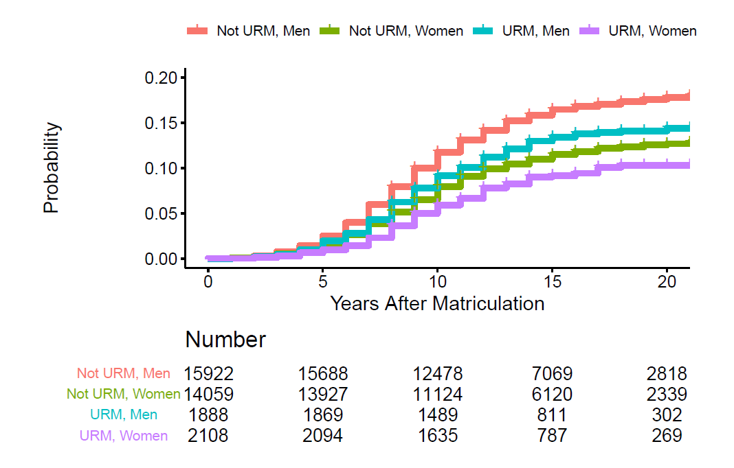 Time to first R01 award according to under-represented minority (URM) status and gender, x axis=years after matriculation (0-20), y axis=probability (0-0.2), not URM men represented in red line, not URM women represented by green line,, URM Men represented by blue line, and URM women represented by purple line