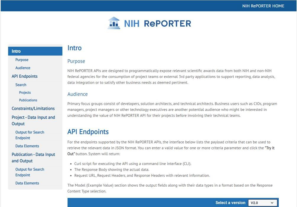 Figure 1 is a snapshot of the API introduction page.