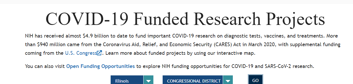 Figure 2 illustrates screenshots of the NIH COVID-19 funding page utilizing RePORTER's API. The state of Illinois is selected in the drop-down (first screenshot) with the first 2 results shown (second screenshot).