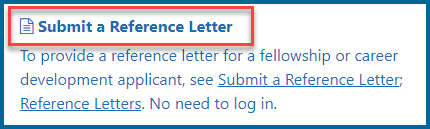 screenshot of link to open the submit reference letter screen, blue text on a white background reading 'submit a reference letter'